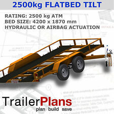 Trailer Plans - TILT FLATBED CAR TRAILER PLANS - 14x6ft- 2500kg- PLANS ON CD-ROM
