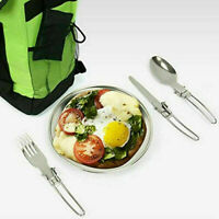 3pce Camping Dinnerware Set Stainless Steel Cutlery Camping Fork tableware I0B2