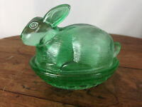 Vintage Rabbit on Nest Glass Trinket Box Candy Dish #WH-16