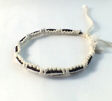White and Black Waxed Cotton Bracelet Anklet Wristband Womens Mens Surf Beach