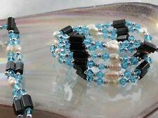 Hämatit Kette oder Armband mit echten weißen Zucht Perlen+Perle Aquamarine Blau