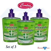 3 x Certex Tea Tree & Aloe Vera Antibacteria Moisturising Hand Wash LARGE 500ml