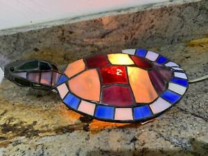 """Vintage Stained Glass TURTLE/ TORTOISE  Accent Lamp/ Light ~ 12.5"""""""