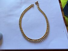 GOLD PLATED CRYSTAL SET STYLISH DINNER PARTY / PROM NECKLACE + EXTENDER 40-141