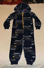 West Coast Eagles AFL Boys Printed Microfleece Hooded Onepiece Pyjama Size 7 New