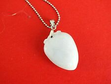 CHINESE WHITE JADE PEACH PENDANT NECKLACE WOMEN MEN JEWELLERY PARTY GIFT Q