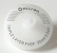 Omicron Syringe Filters Non-Sterile 25mm, 0.2um, Triple Layered GF+GF+PVDF 10Pk