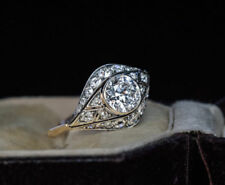 Vintage Victorian Edwardian 1.20Ct Diamond Engagement Bezel Ring Circa 1910's