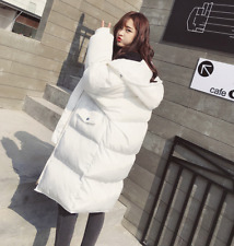 Womens Hooded White Coat Down Cotton Loose Jacket Long Parka Overcoat Warm Thick