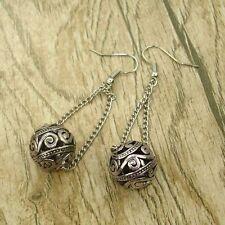 Vintage Tibet Silver Tone Earrings Ball Link Dangle Women Charms Fashion Jewelry