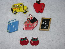 Charm a Teacher with this  Lot of 5 Button Covers & Earrings SCHOOL HOUSE APPLE