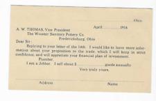 1916-POSTAL CARD-RECEIPT-WOOSTER SANITARY POTTERY CO.-FREDERICKSBURG, OHIO