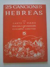 1971 B.A. 9341 25 Canciones Hebreas Para Canto y Piano