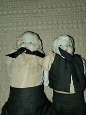 Lot 2 Antique Girl Boy Bisque Dolls with Painted Lips Eyes Shoes cheeks Clothes