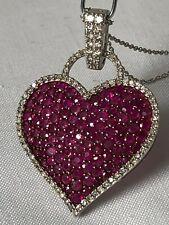 Large14K White Gold, Diamond & Ruby Heart Pendant Necklace