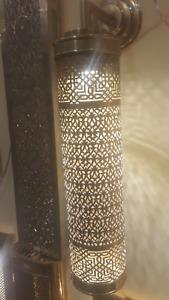 Engraved SHAEILA Wall Torch Light Moroccan Brass Antique Torch Wall Light