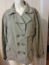 Women's  Apt 9 Size XL Green Button Front Jacket w/ Pockets Long Sleeve Cotton