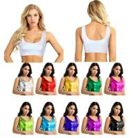 Women Shiny Metallic Bikini Tank Crop Top Bra Vest Bustier Blouse Shirt Clubwear