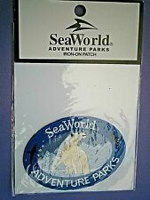 S3*) New Sea World Adventure parks Polar Bear iron on fabric oval patch badge