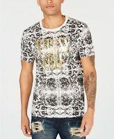 $99 Guess Men's White Black Gold Cotton Crew-Neck Short-Sleeve Graphic T-Shirt M