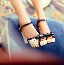 Womens Ladies Pumps High Heels Bow Peep Toe Block Heels Platform Sandal Shoes @B