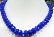 Natural 5x8mm Faceted Blue Sapphire Gemstone Roundel Beads Necklace 18""