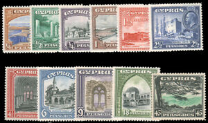 CYPRUS 1934 GEORGE V SCENIC SET MINT #125-35 LH or MHR $231.80