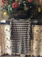 MICHAEL STARS Green Hampton Striped Boatneck 3/4 Sleeve Dress or Top OS