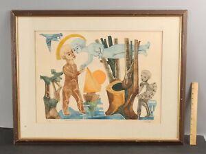 Signed ABRAHAM KROL Modernist Surreal Romantic Etching Print, Tristan & Iseault