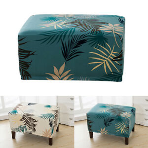 Stretch Storage Ottoman Slipcover Elastic Rectangle Footstool Sofa Cover