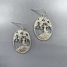 Silver Finished Tree Of Life Design Oval Shape Cut Out Drop Dangle Hook Earrings