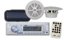 "200W New Marine Boat MP3 USB Radio 4"" Pyle White Round Speakers w/Stereo Cover"