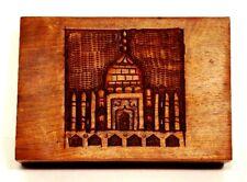 Trinket Jewelry Box Taj Mahal India Handcarved Wooden Decorative 4 Compartments