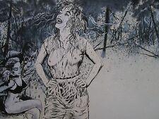VINTAGE PULP HORROR EROTICA PAINTING ILLUSTRATION 1960'S ART  PUBLISHED NUDE