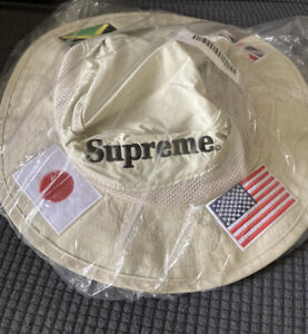 Supreme Flags Boonie Hat Color Tan Size S/M Brand NEW Deadstock 100% Authentic