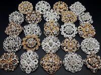 24pc lot Mixed Gold Silver Rhinestone Crystal Brooches Pins DIY Wedding Bouquet
