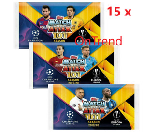 2019 2020 Match Attax 101 UEFA Champions Soccer Trading Cards - 15 Sealed Packs