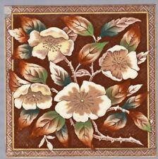 T G & F Booth - c1887 - Wild Roses - Registered Design - Antique Victorian Tile