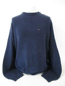 """TOMMY HILFIGER Jumper, Round Neck, Navy Blue, 100% Cotton, X Large, 48"""" Chest"""