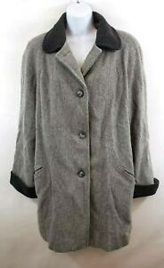 Herman Kay Women's Wool Winter Coat Size 14 Gray Trench Collar Cuff Lined Button