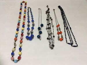 6 VINTAGE BEAD NECKLACES