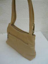 Jacqueline Ferrar Roomy Four-Compartment Beige Leather Double-Strap Shoulder Bag