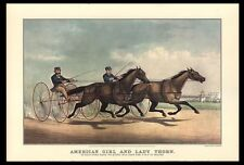 """VINTAGE 1967 """"AMERICAN GIRL & LADY THORN"""" HORSE RACE ART PRINT CURRIER &IVES"""