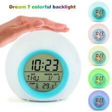 Kids White Digital Alarm Clock Bedroom Home Time Thermometer Gift 7Colors Change