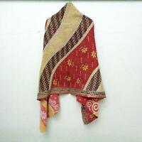 Vintage Dupatta Long Stole Cotton Cream Hand Embroidered Kantha Scarves SW11