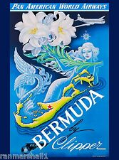 Bermuda Mermaid Caribbean Pan American Vintage Travel Advertisement Art Poster