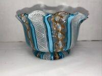 Vintage Blue & White Latticino Ribbon Handkerchief Vase Murano