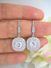 3.50 Ct Off White Round Moissanite Double Halo Stud Earrings 925 Sterling Silver