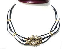 Bijou  cuir et alliage doré collier intemporel motif floral sur cuir necklace