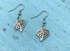 Christmas FILIGREE HEART EARRINGS Love Valentine's Day Silver Charm Hook Dangle